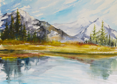 snow capped: Lake with Mountains. Landscape watercolor painting of snow covered mountains with a lake