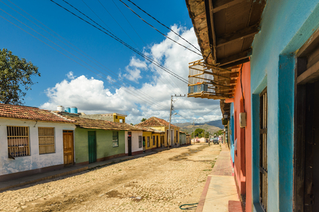 Colorful houses on the cobblestone streets in the center of Trinidad Cuba.