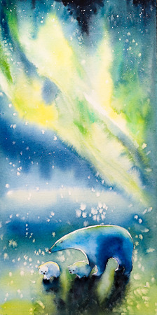 Watercolor painted picture of polar she-bear with two kids and aurora borealis in background. Stock Photo
