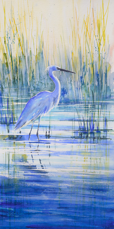 Blue heron on the lake shore at sunset.Picture created with watercolors