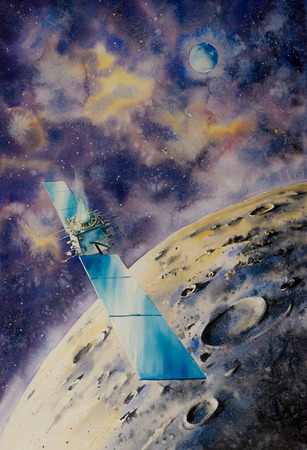 Outer space satelite close to Moon.Picture created with watercolors. Stock Photo