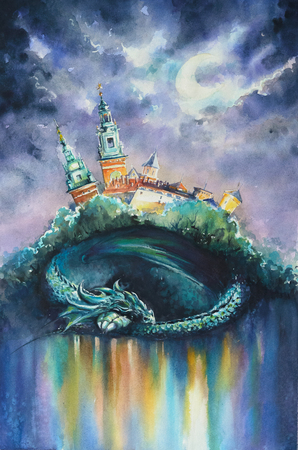Dragon, symbol of polish city Krakow sleeping under Wawel castle.Picture created with watercolors.
