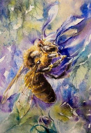 Close up of honey bee on lobelia flower watercolors painted.