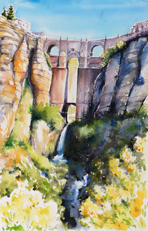 El Tajo Gorge Canyon with  bridge  in Ronda, Andalusia, Spain.Picture created with watercolors.