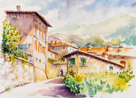 Picturesque Vesio village above Lago di Garda, Lombardy region of Italy. Picture created  with watercolors.