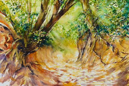 Gorge in summer watercolors painted.