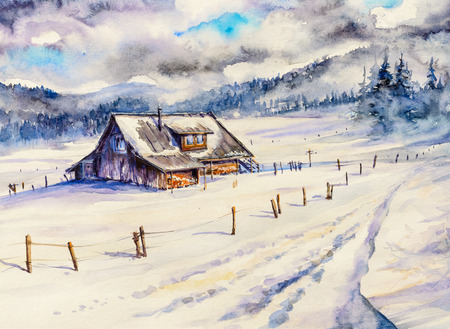 Winter mountain landscape with wooden house and cloudy sky.Picture created with watercolors.
