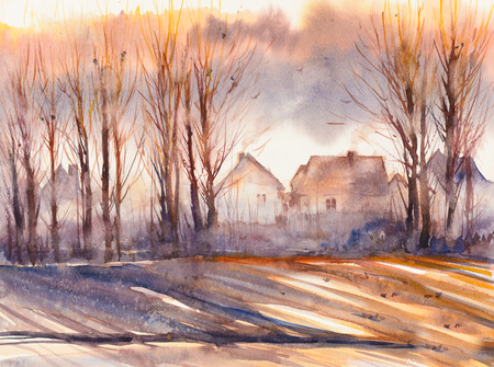 Autumn landscape with village and trees in foreground. Picture created with watercolors. Stock Photo