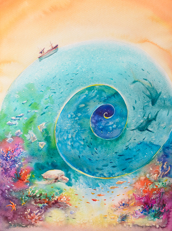 Colorful illustration of ocean with coral reef, fishes and boat.Picture created with watercolors.