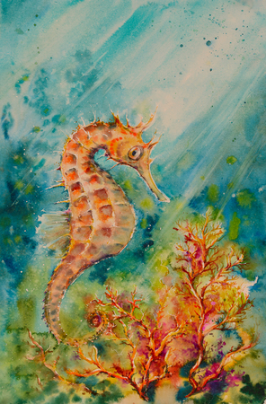 Illustration of seahorse corals and shoal of fishes. Ocean underwater background. Picture created with watercolors.