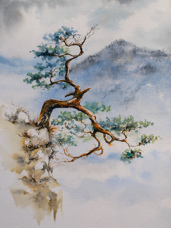 Famous curved pine tree on the top of Sokolica peak in Pieniny, Poland. Picture created with watercolors.
