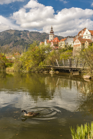 Pond in park and exterior view of old town main street square with historic houses in background. Frohnleiten, Styria, Austria Stock Photo