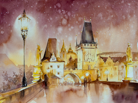 Charles Bridge, historic bridge that crosses the Vltava river, Prague, Czech Republic.Picture created with watercolors.