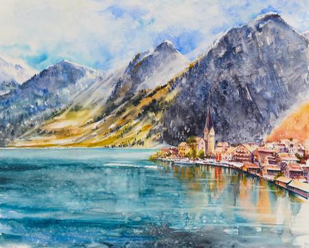 Hallstatt mountain village at Hallstatt lake.Austria, Europe.Picture created with watercolors. 스톡 콘텐츠