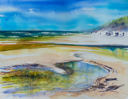 Beautiful coastline of Baltic Sea with sandy beach. Picture created with watercolors at open air. Stock Photo