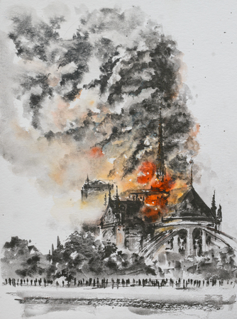 Fire at the Notre Dame Cathedral. Paris, France. Picture created with watercolors.