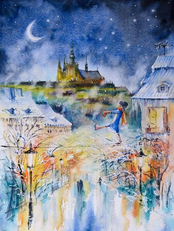 Sleepwalker at winter night in city. Picture created with watercolors.