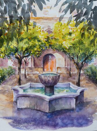 Backyard library in Barcelona with orange trees and fountain. Picture created with watercolors. Stock Photo