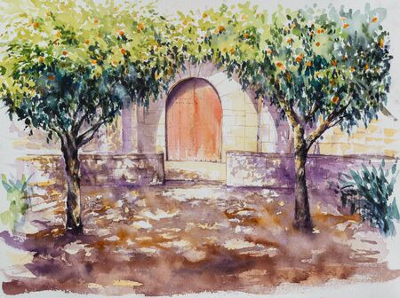 Backyard library in Barcelona with orange trees . Picture created with watercolors.
