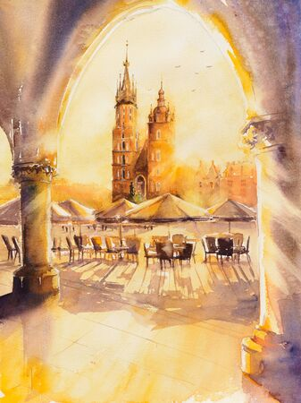 Church of St. Mary in the main Market Square at sunrise. Picture created with watercolors.