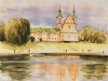 The historic Church on the Rock, also called Skalka, the Pauline Church and St Stanislaws church, on the banks of the river Vistula in Krakow, Poland. Picture created with watercolors.
