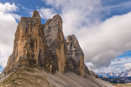 Tre Cime (Three Peaks) di Lavaredo (Drei Zinnen) , are three of the most famous peaks of the Dolomites, in the Sesto Dolomites, Italy, Europe