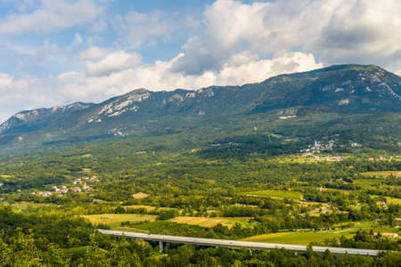 Vipava Valley.View of famous wine region Goriska Brda hills in Slovenia.