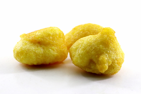 Isolated top view of Basin pakoda or pakora, Top shot of Popular indian or pakistani street food snack on white background