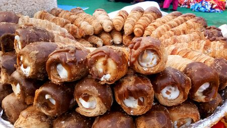 puff cream rolls or Pastry sell in market at lucknow