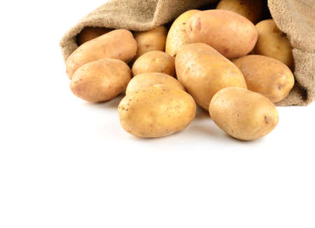 Potatoes in bag solated on white
