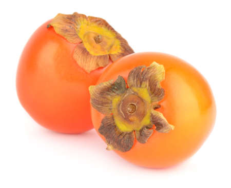 Two persimmons isolated on white