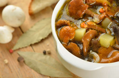 Soup with different mushrooms