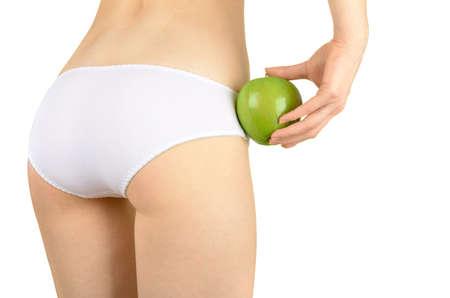 녹색 사과 들고 여자가 개념 이미지 스톡 콘텐츠