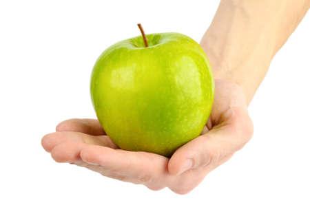 녹색 사과와 남자 손 스톡 콘텐츠