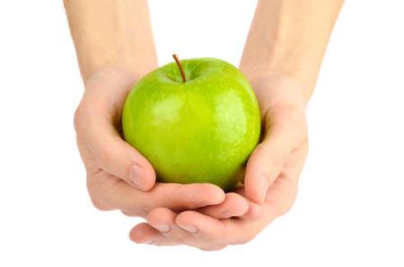 남자 녹색 사과는 흰색에 고립 된 손 스톡 콘텐츠