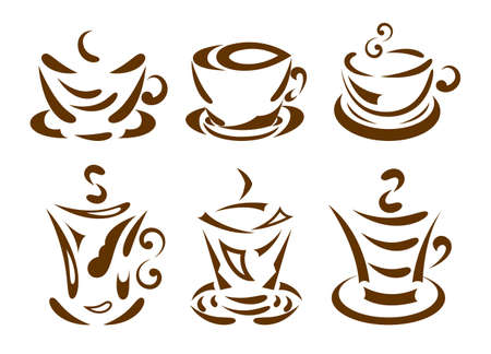 hot cocoa: Set of coffee cups