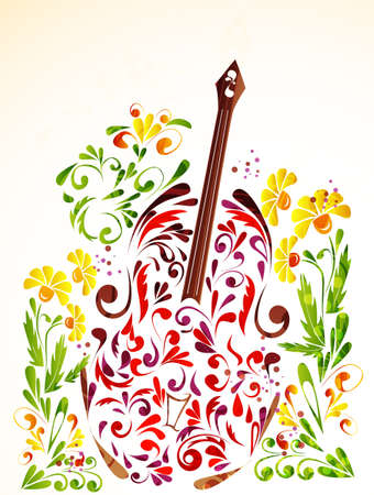 Floral guitar Ilustrace