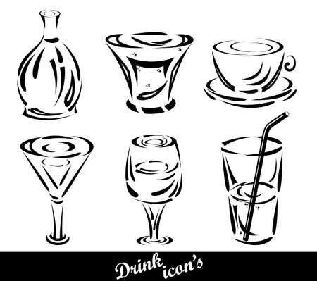 vaso de agua: Conjunto de iconos de bebidas Vectores
