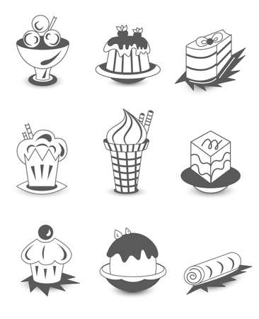ice cream cup: Dessert icon sets