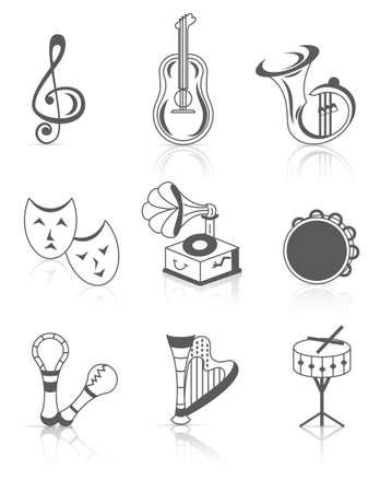 clave de fa: Instrumentos musicales Vectores