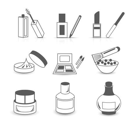 makeup brush: Set of cosmetic icons