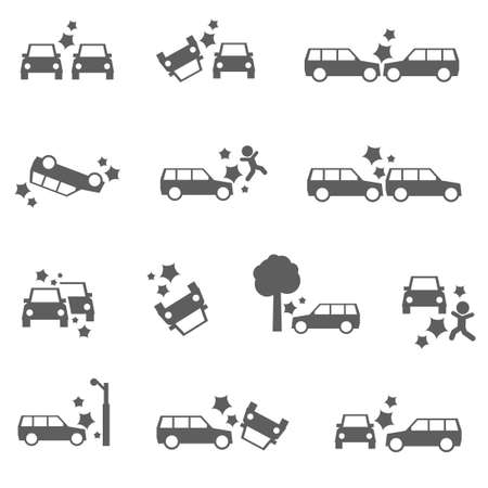 damage: Car crash icons auto SUV accident bold set Illustration