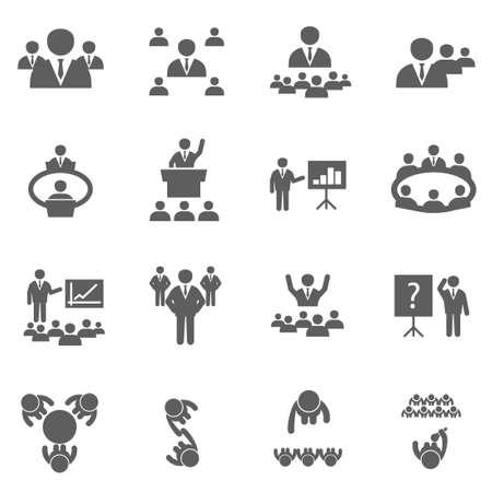 Poznaj ludzi biznesu zestaw ikon biura konferencji na szkolenia i seminarium