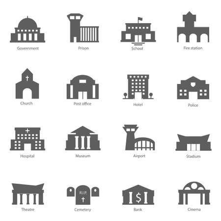 edificio escuela: Conjunto de edificios del gobierno iconos ilustración vectorial