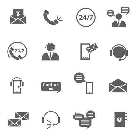 Contact us support call phone letter service icons set Ilustrace