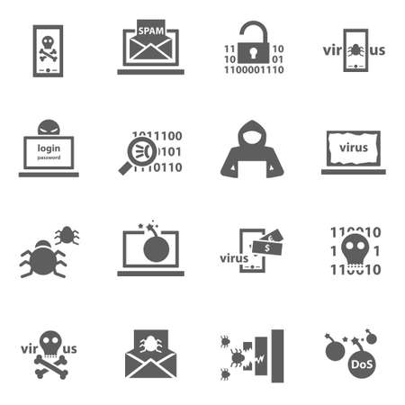 computer security: Set of cyber virus digital protection hacker attack icons