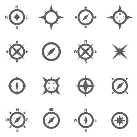 compass: Set of compasses navigation signs and wind rose Illustration