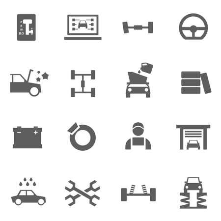 mecanico: Conjunto de piezas de reparación de auto servicio iconos mecánico Vectores