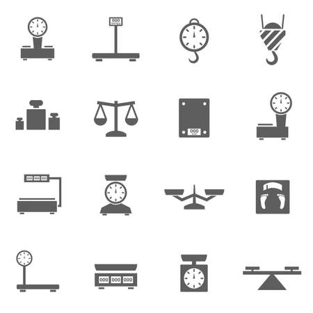 grey scale: Scales weight measuring icons set vector illustration
