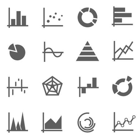 Set of chart graph pie vector icons